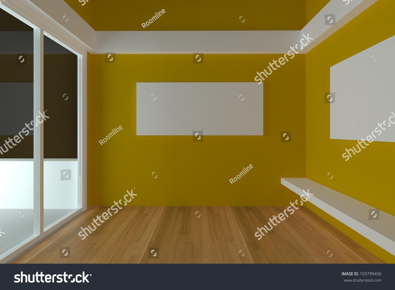 Home Interior Rendering Empty Room Color Stock Illustration ...
