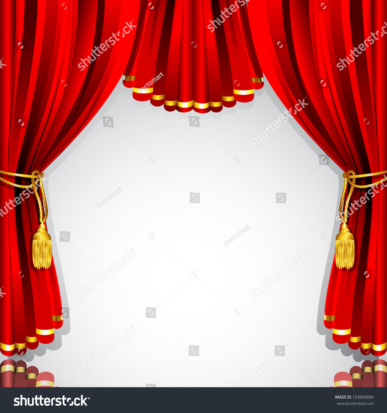 Red stage curtain with lights - Stage Curtain Background Illustration Of Red Stage Curtain Drape On White Background