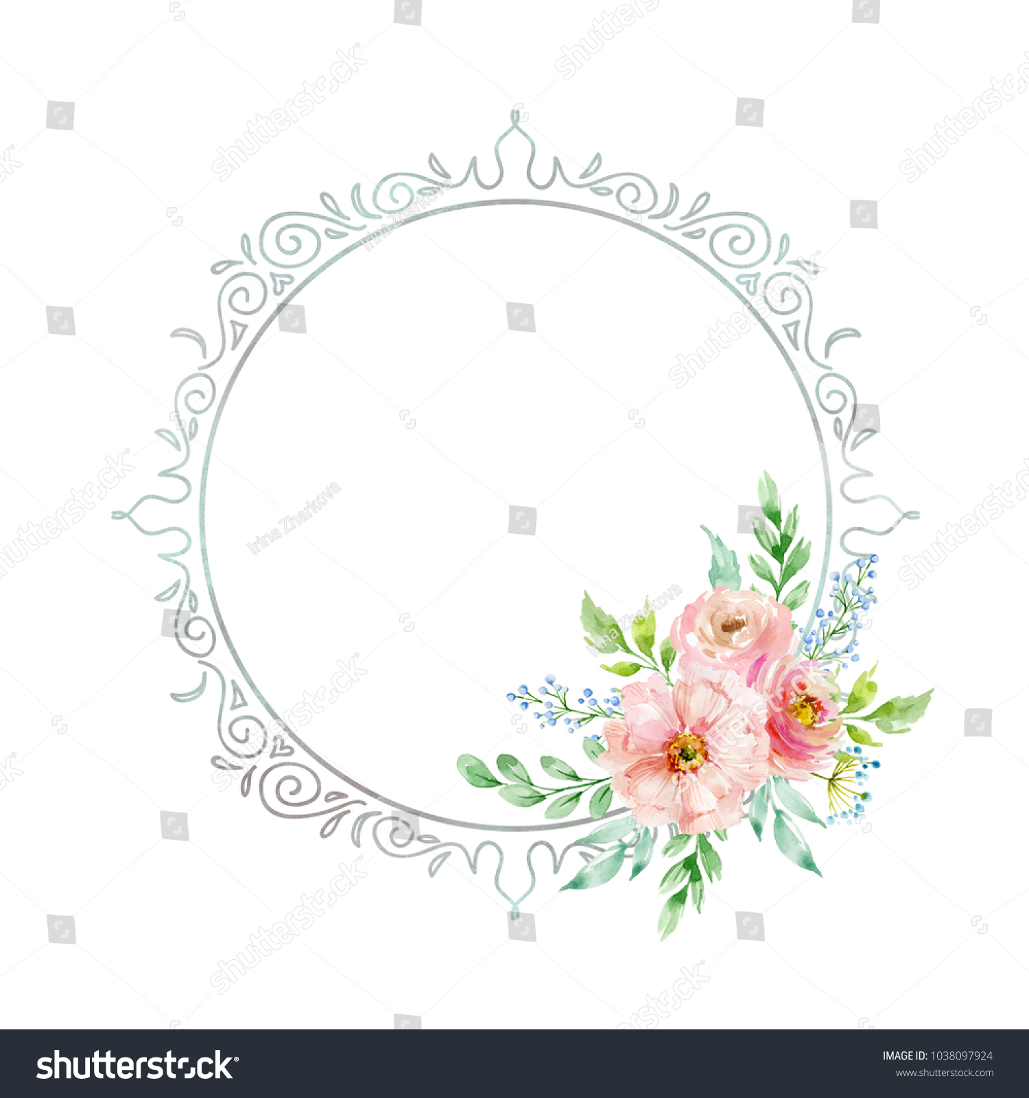 colorful frame border design. watercolor composition flowers pastel colors frame stock illustration 1038097924 - shutterstock colorful border design
