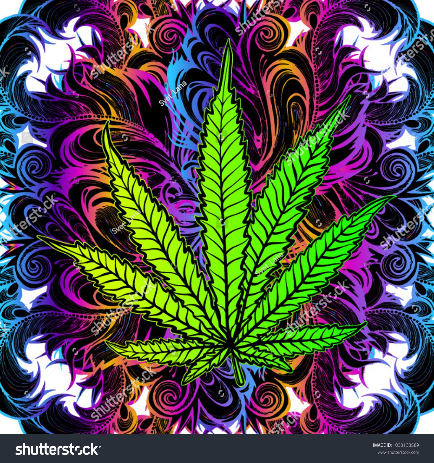 Cannabis Leaf Marijuana Herb Weed Ganja Stock Vector Royalty Free