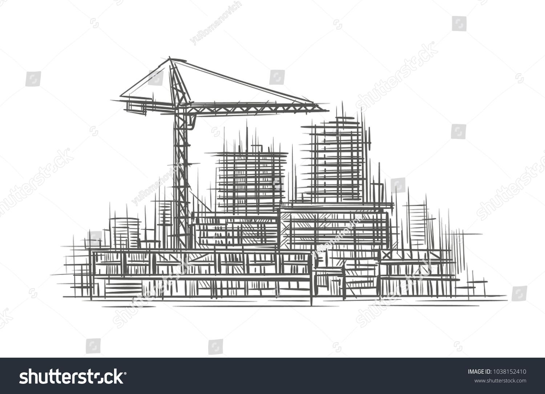 Construction Site Sketch Hand Drawn Vector Stock Vector 1038152410 ...