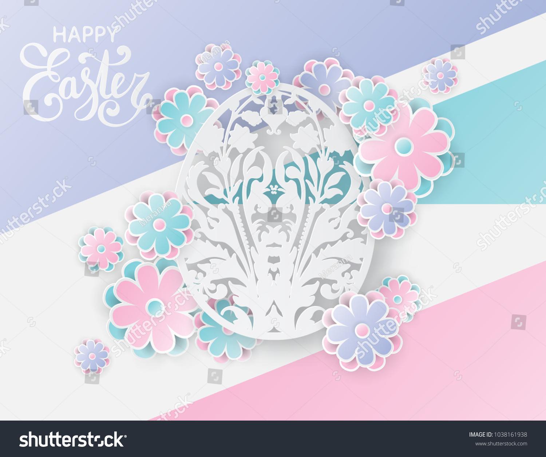Elegant Easter Background 3 D Paper Flowers Stock Vector Royalty