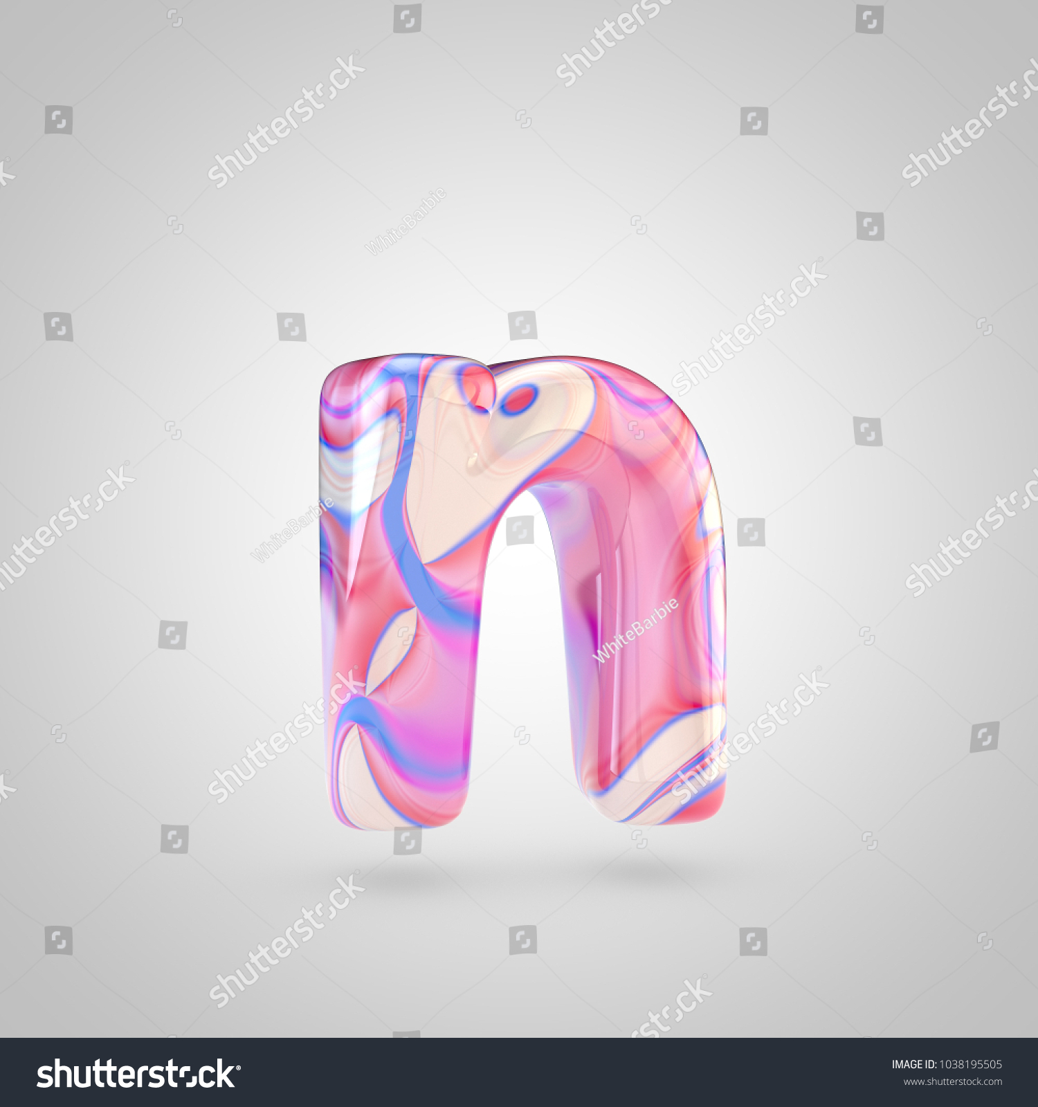 Glossy Holographic Letter N Lowercase 3 D Stock Illustration ...