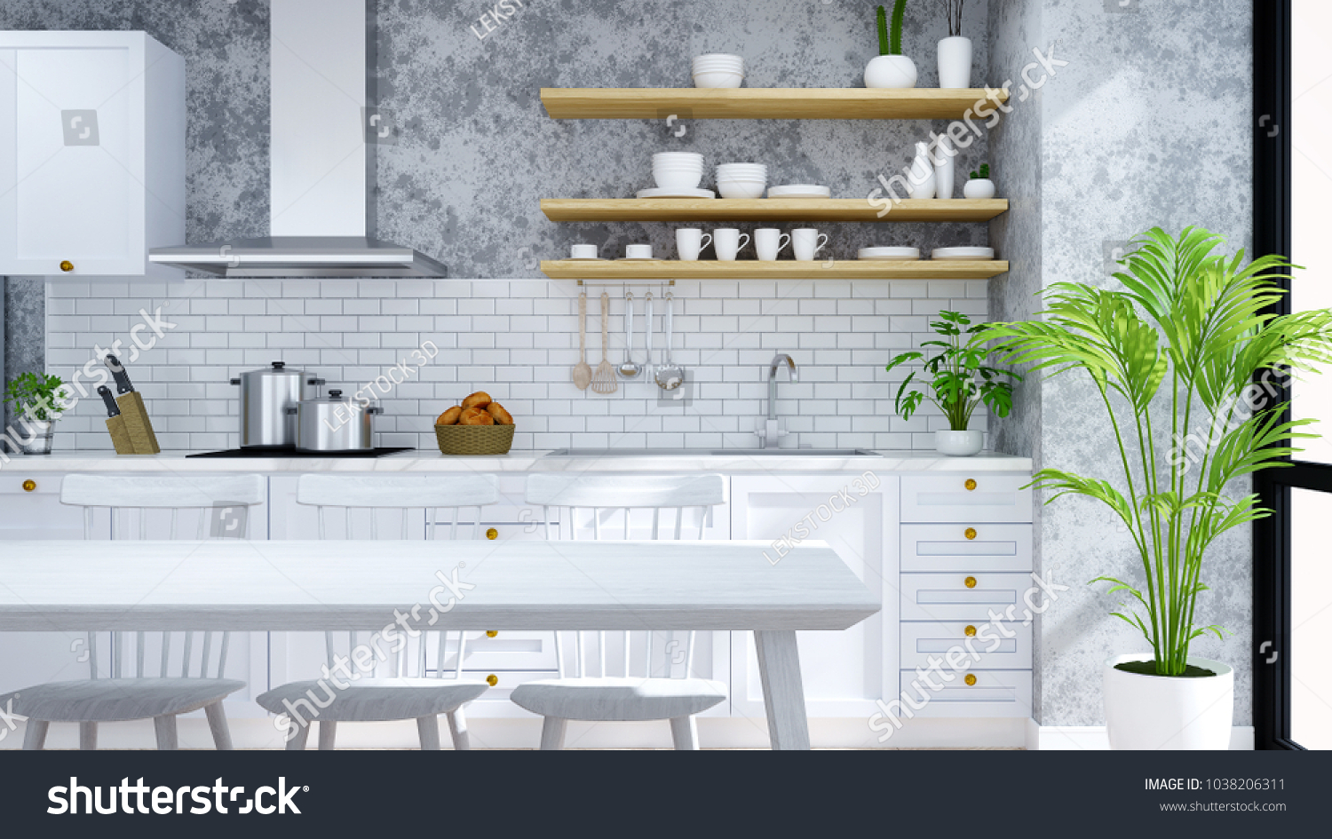 Modern Loft Kitchen Pantry Dinning Room Stock Illustration ...
