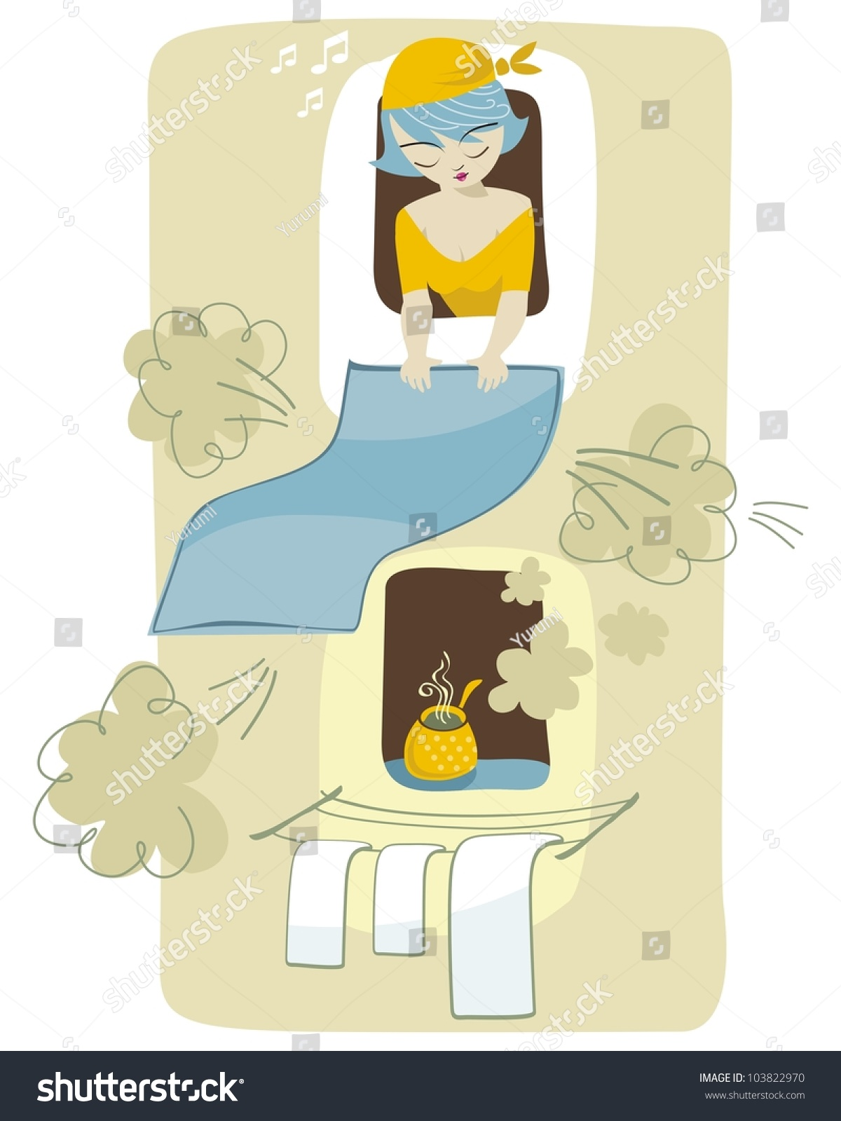 Funny Scene Cleaning Lady Over Neighbors Stock Vector