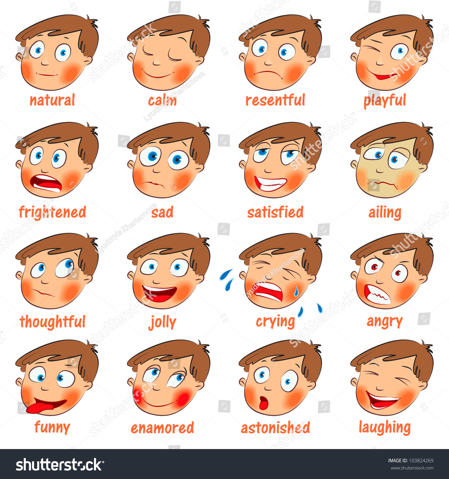 Emotions Cartoon Facial Expressions Set Natural Stock ...