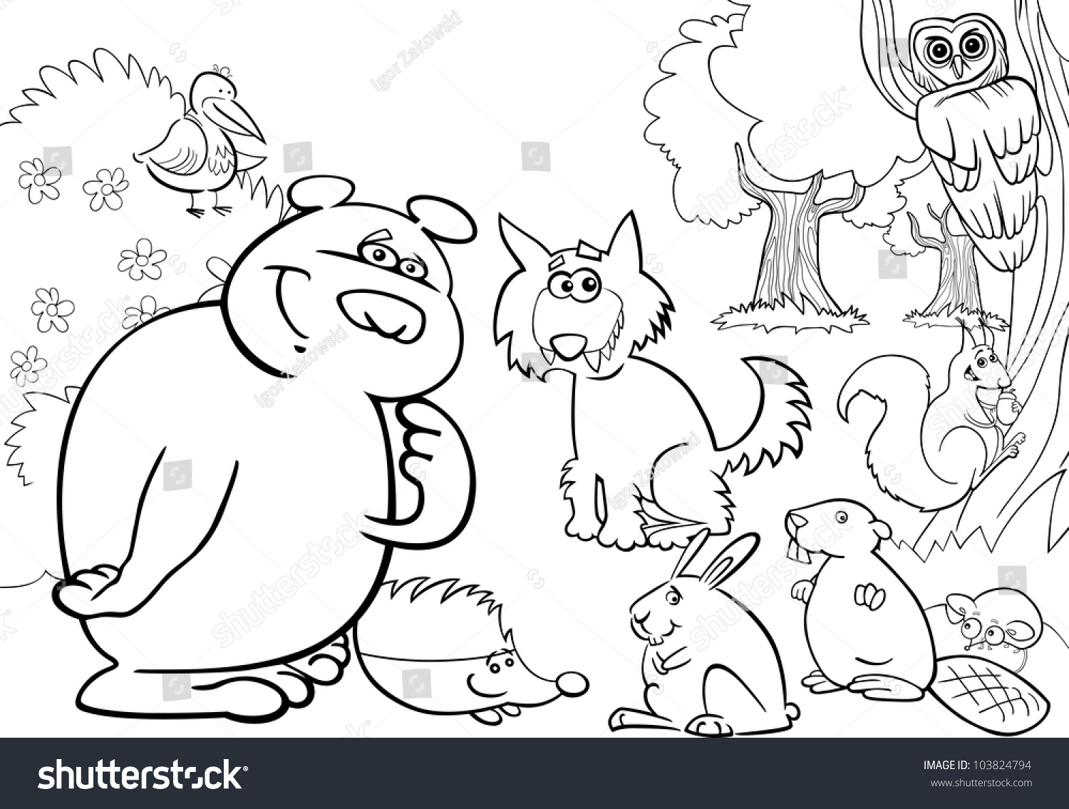 Cartoon Illustration Of Wild Forest Animals For Coloring Book