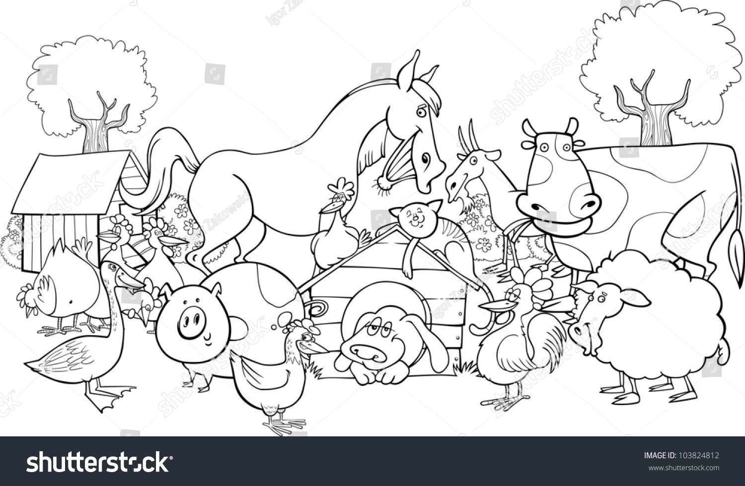 cartoon illustration of farm animals group for coloring group