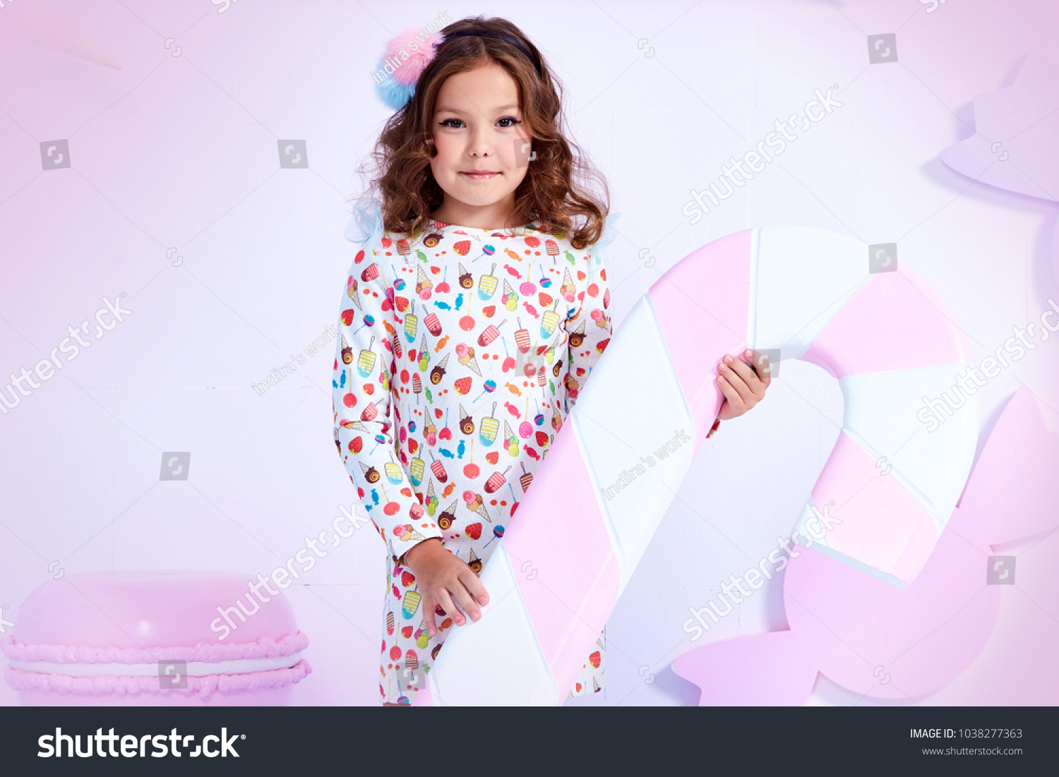 9a1843de7 Small little girl beautiful lady curly hair child wear funny clothes dress  socks boots cute face