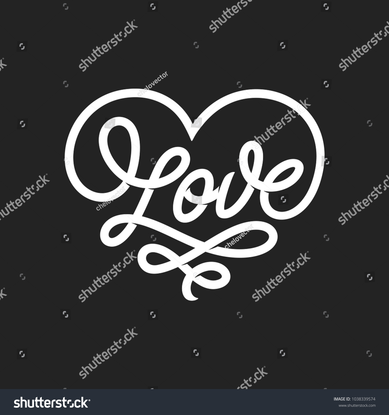 Love Word Lettering In Form Of Heart Valentine Day Romantic Handmade Typography Hand Drawn