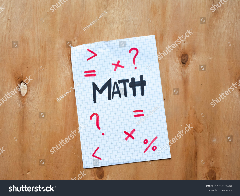 Math Symbols On Piece Paper On Stock Photo Edit Now 1038351610