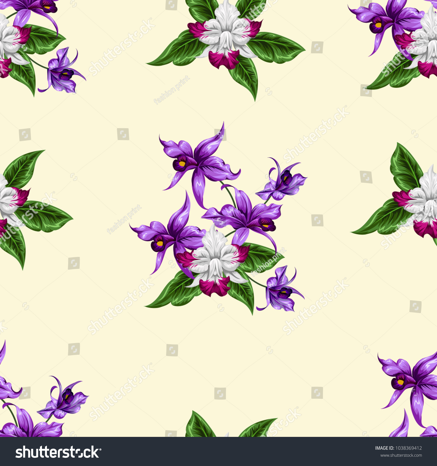 Seamless Pattern Bright Cute Flowers Pretty Stock Vector 1038369412
