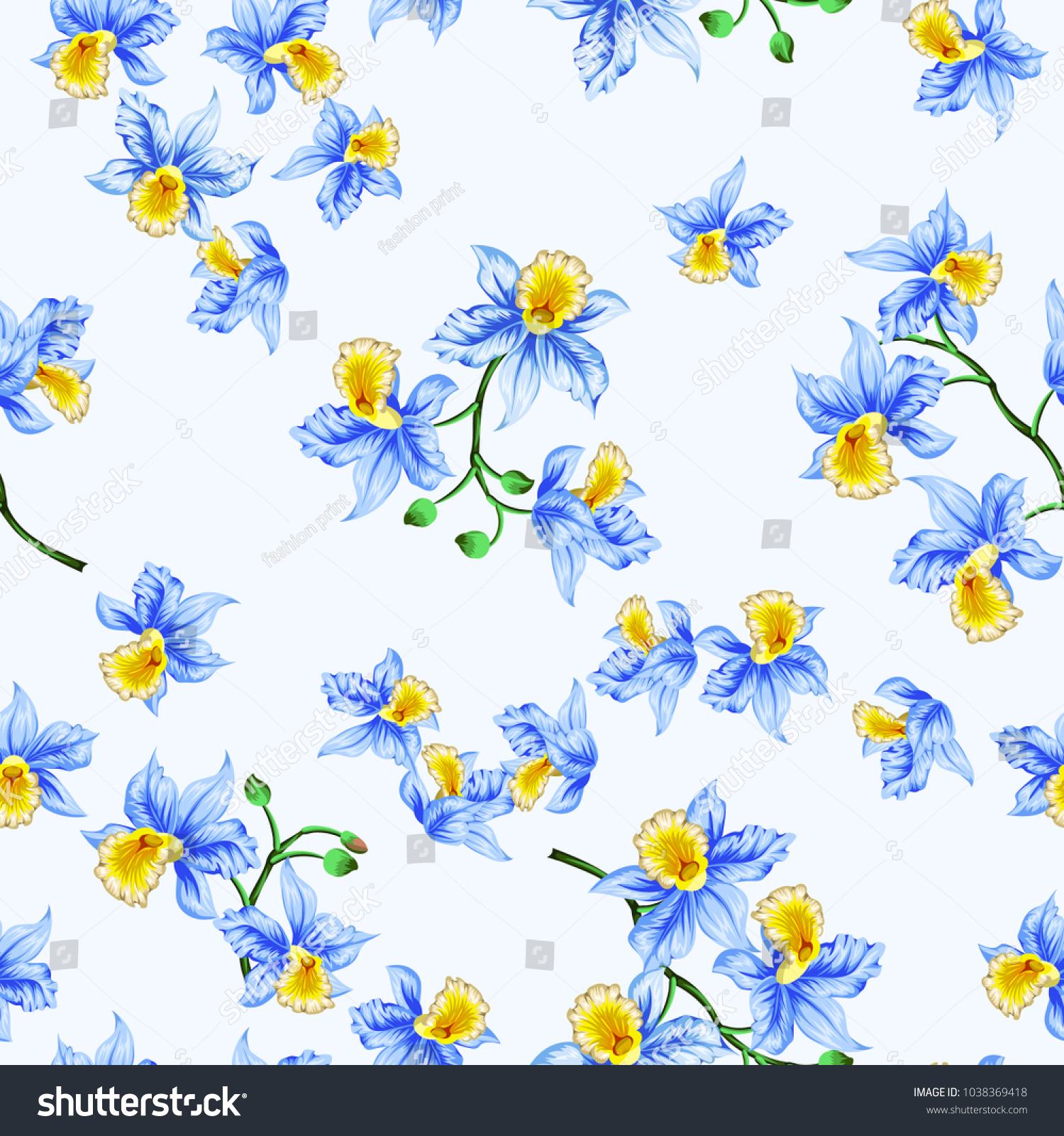 Seamless Pattern With Bright Cute Flowers Of Pretty Orchidsopical
