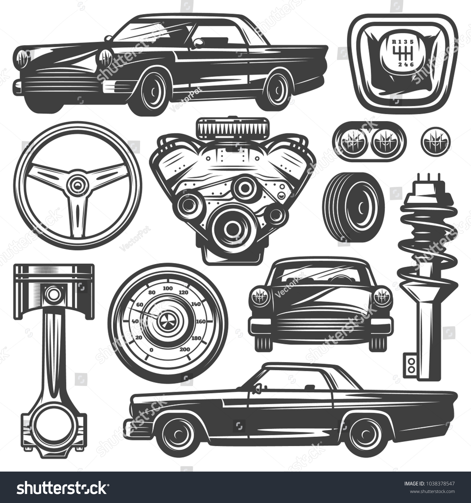 Vintage Car Components Collection Witn Automobile Stock Vector ...