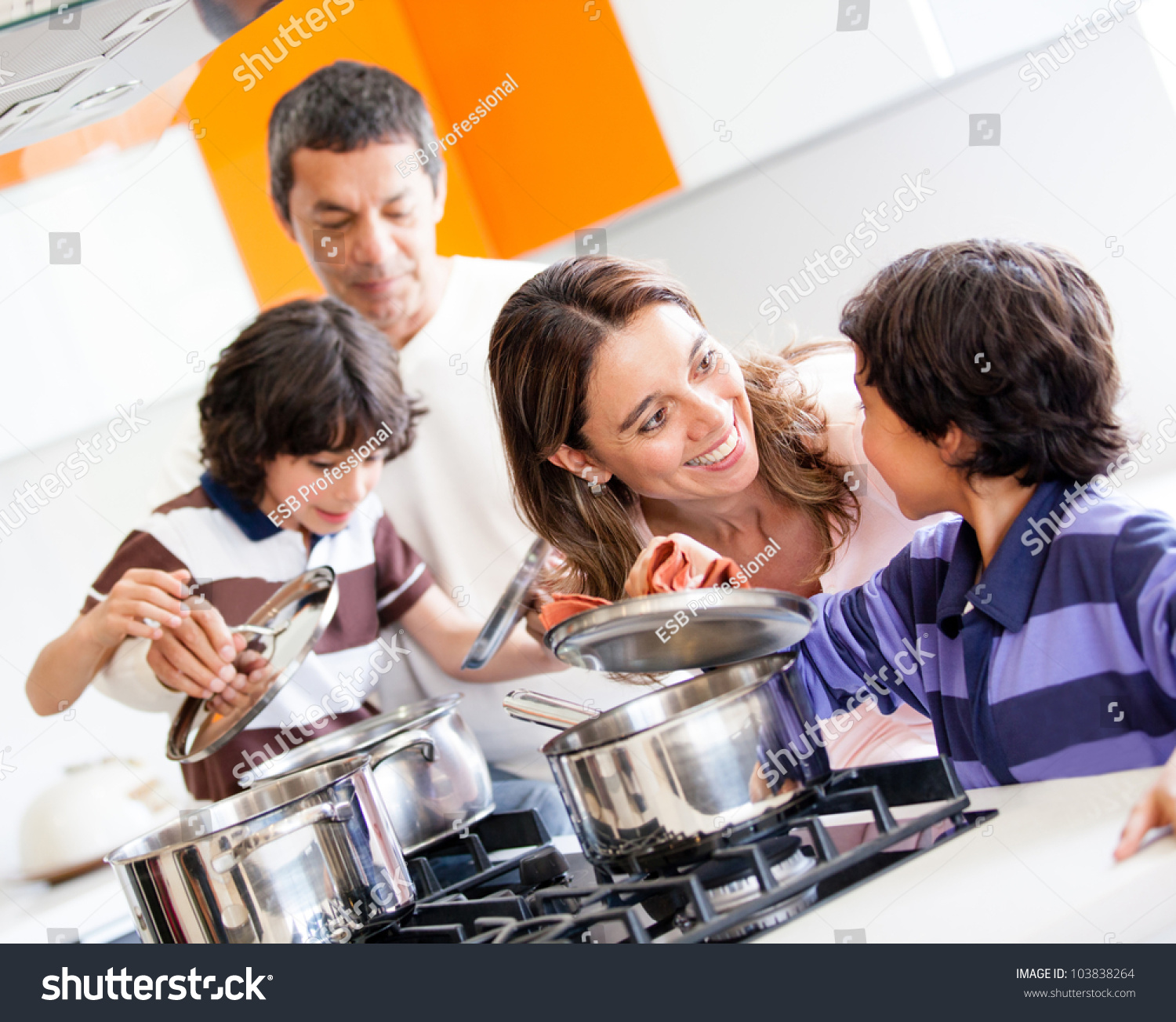 Family cooking kitchen - Family Cooking Kitchen Family Cooking Kitchen Family Cooking Together In The Kitchen And Looking Happy