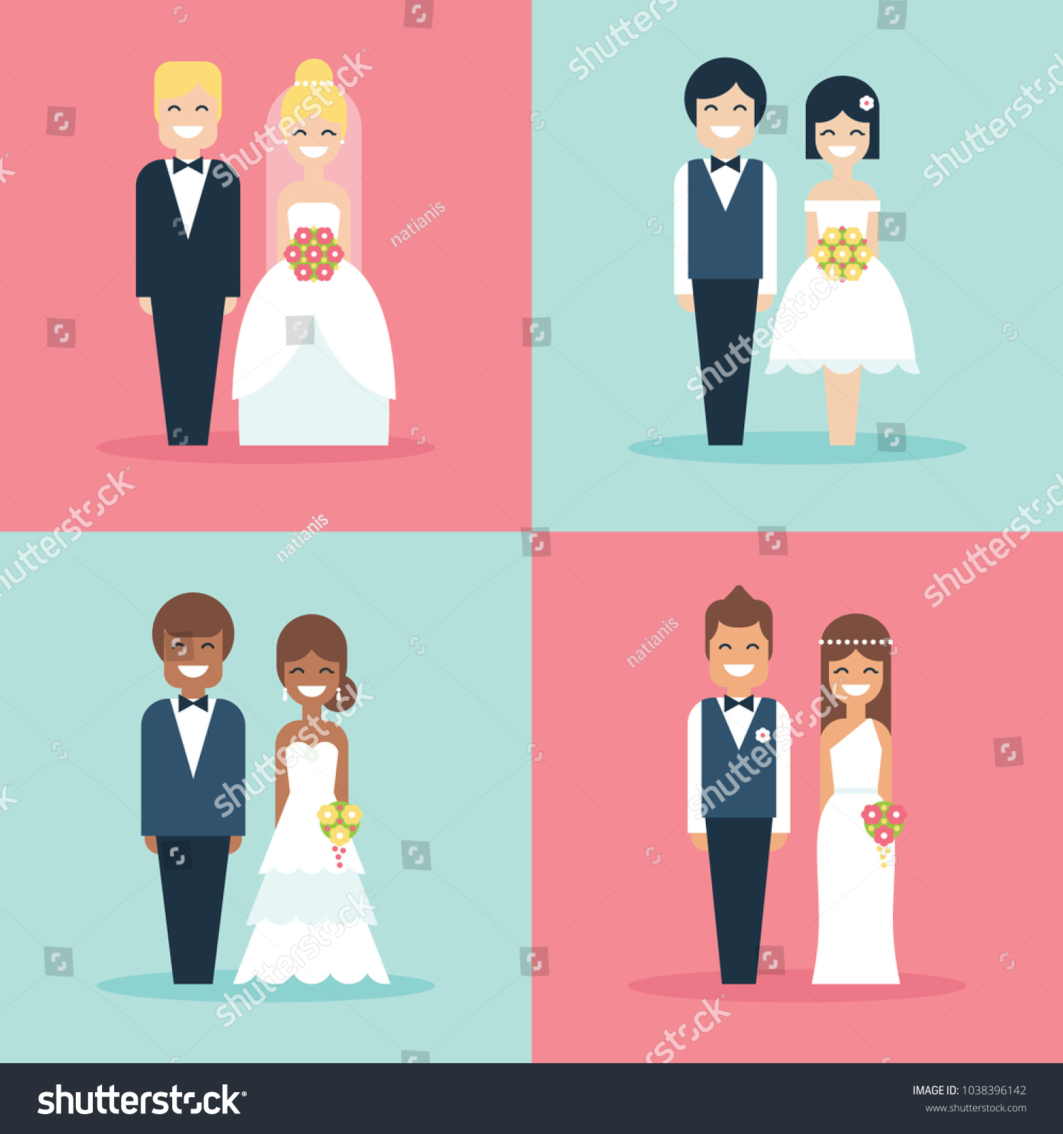 Cute Bride Groom Wedding Cake Toppers Stock Vector (Royalty Free ...