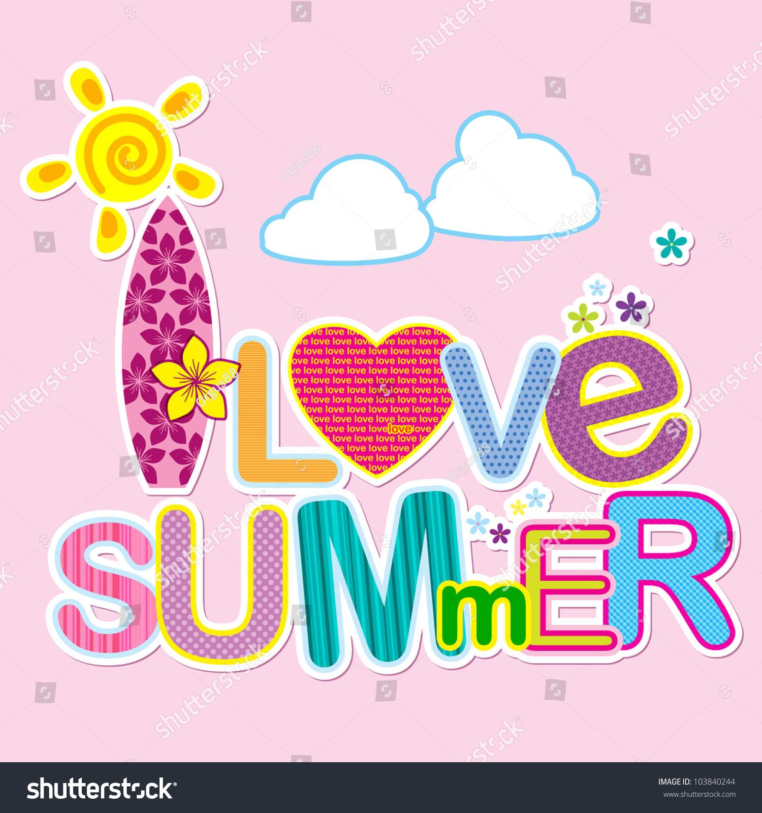 Love Summer Typography Design Stock Vector 103840244 ...