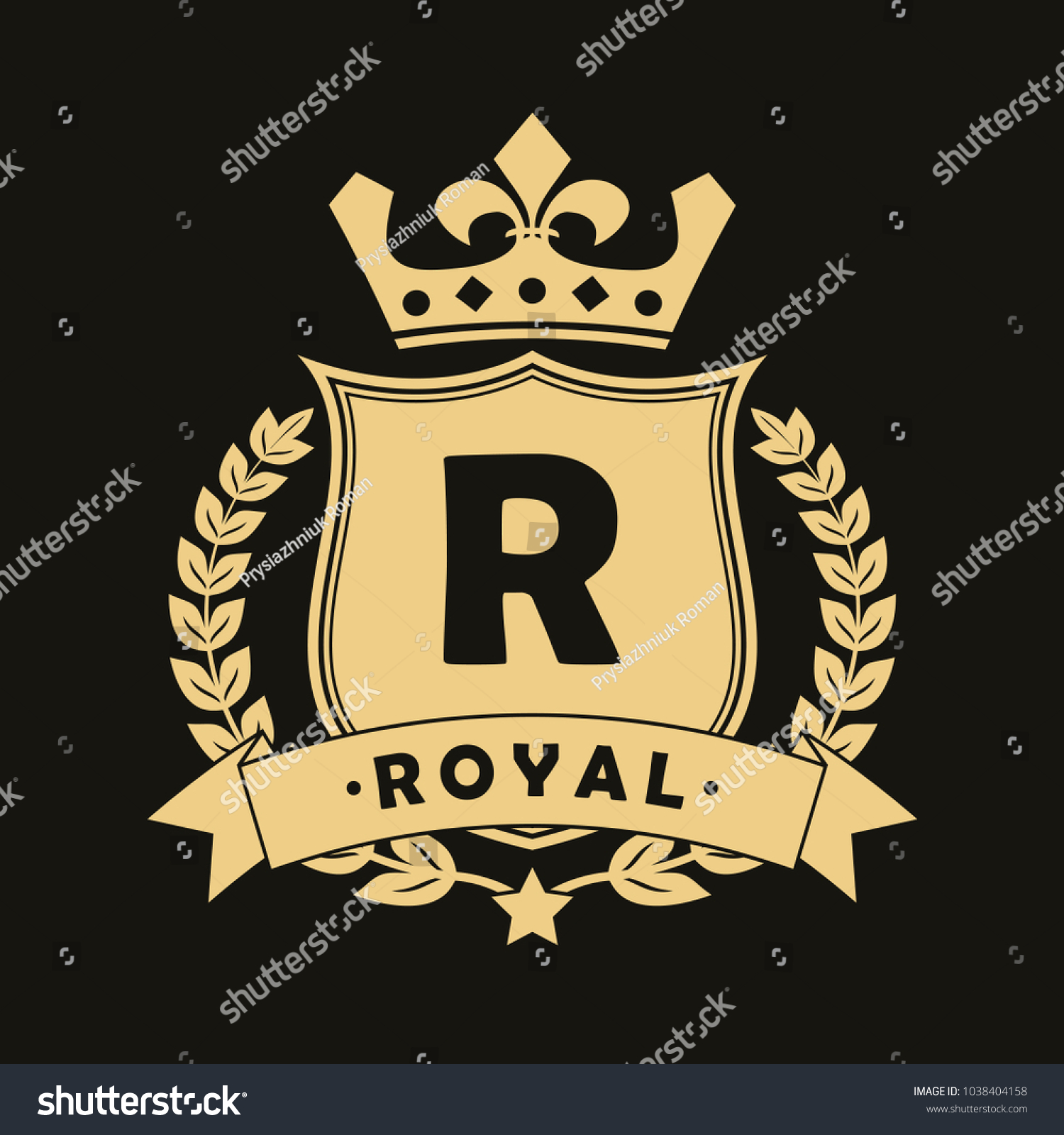 Royal Design Logo With Shield Crown Laurel Wreath And Ribbon Luxury Logotype Template