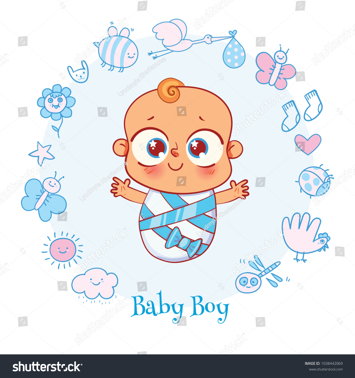 Welcome Baby Invite Greeting Card Boy Stock Vector 1038442069 ...