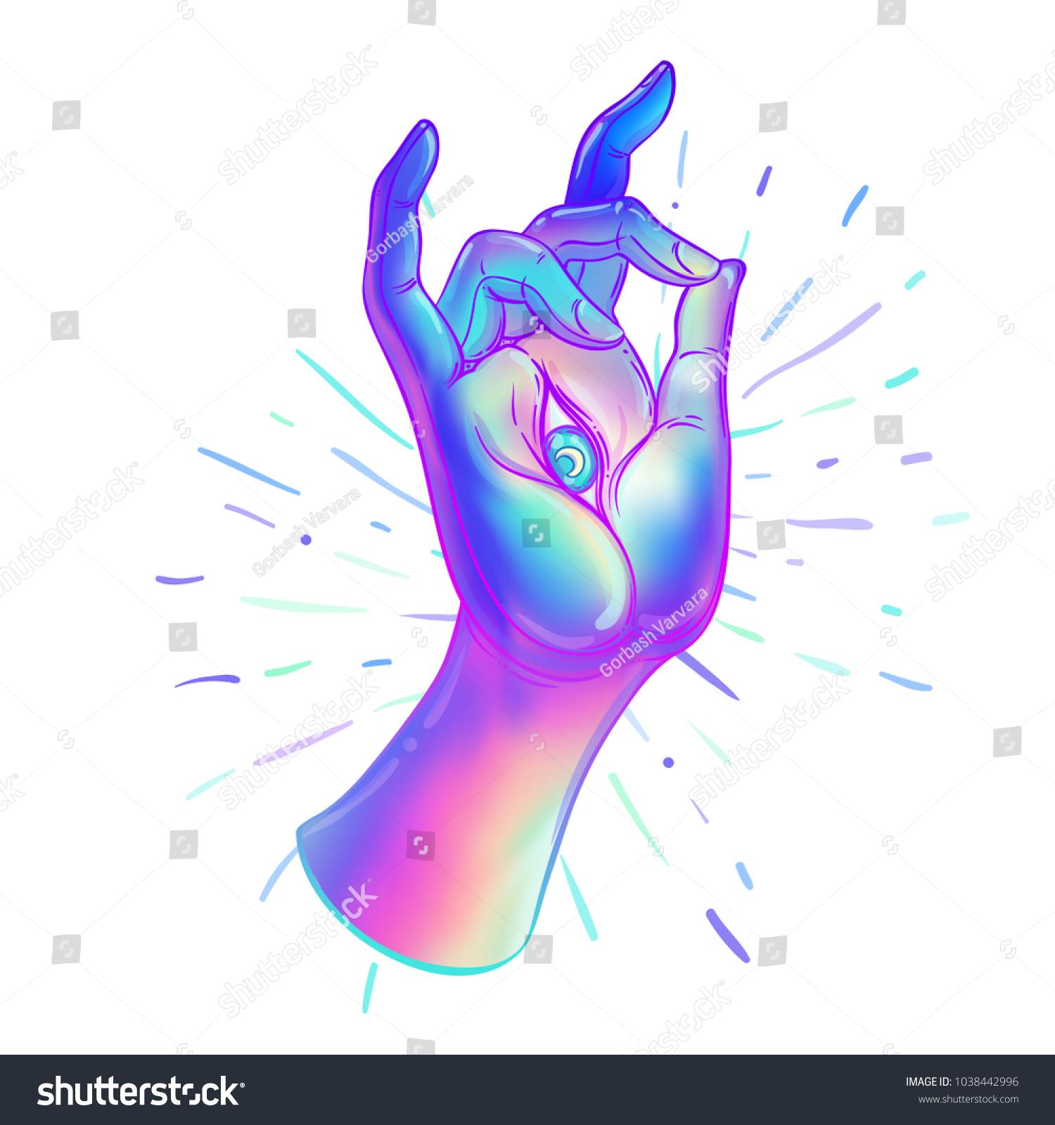 Lord buddhas hand allseeingl eye psychedelic stock vector lord buddhas hand with all seeingl eye psychedelic colors hand drawn colorful illustration biocorpaavc Choice Image