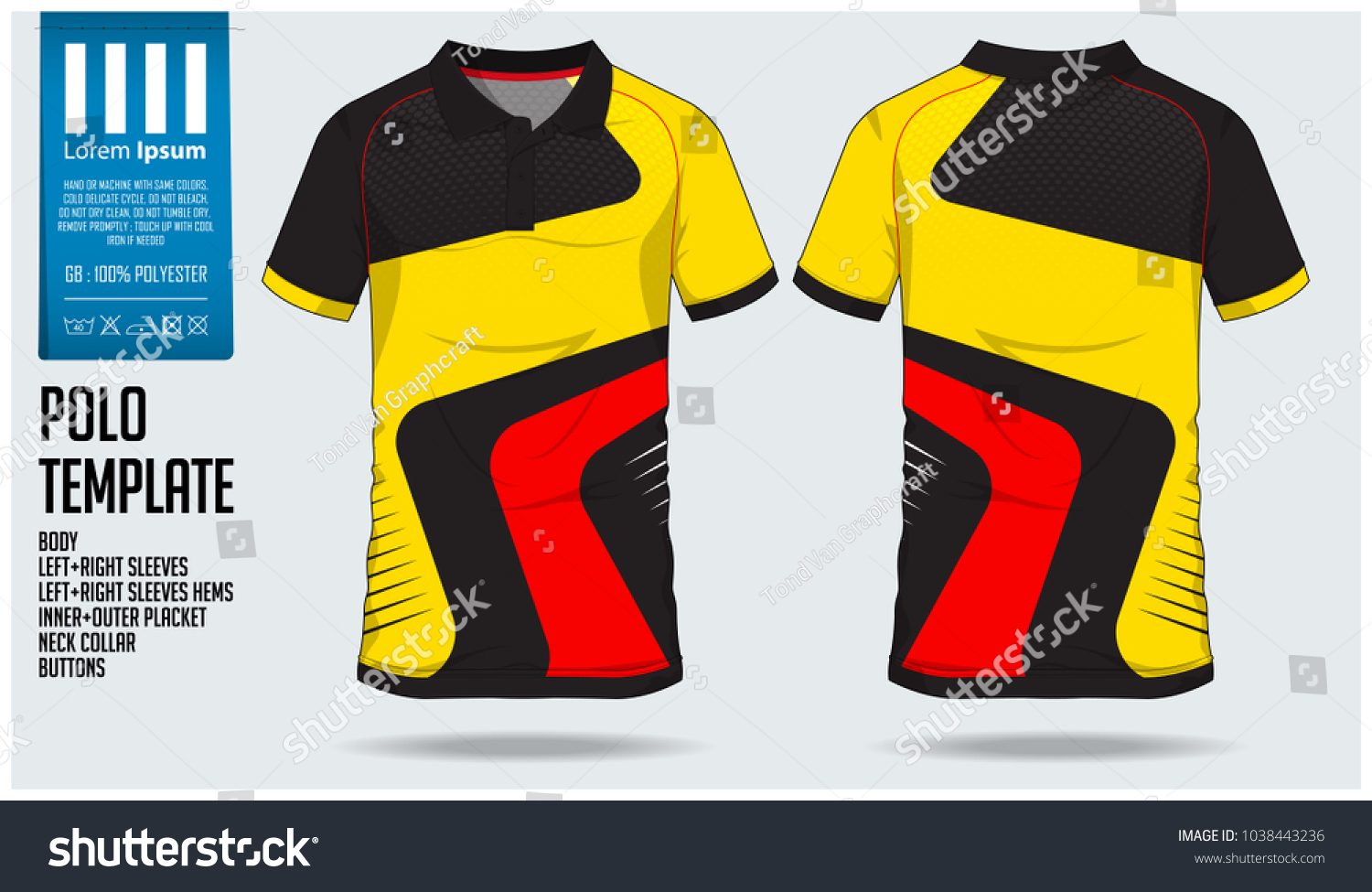 50b21fc9606 Yellow Red and black Polo t shirt sport design template for soccer jersey