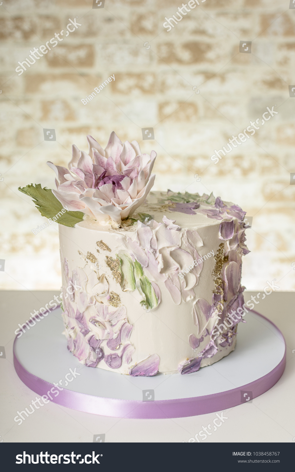 Artistic Wedding Cake Edible Dahlia Flower Stock Photo (Royalty Free ...