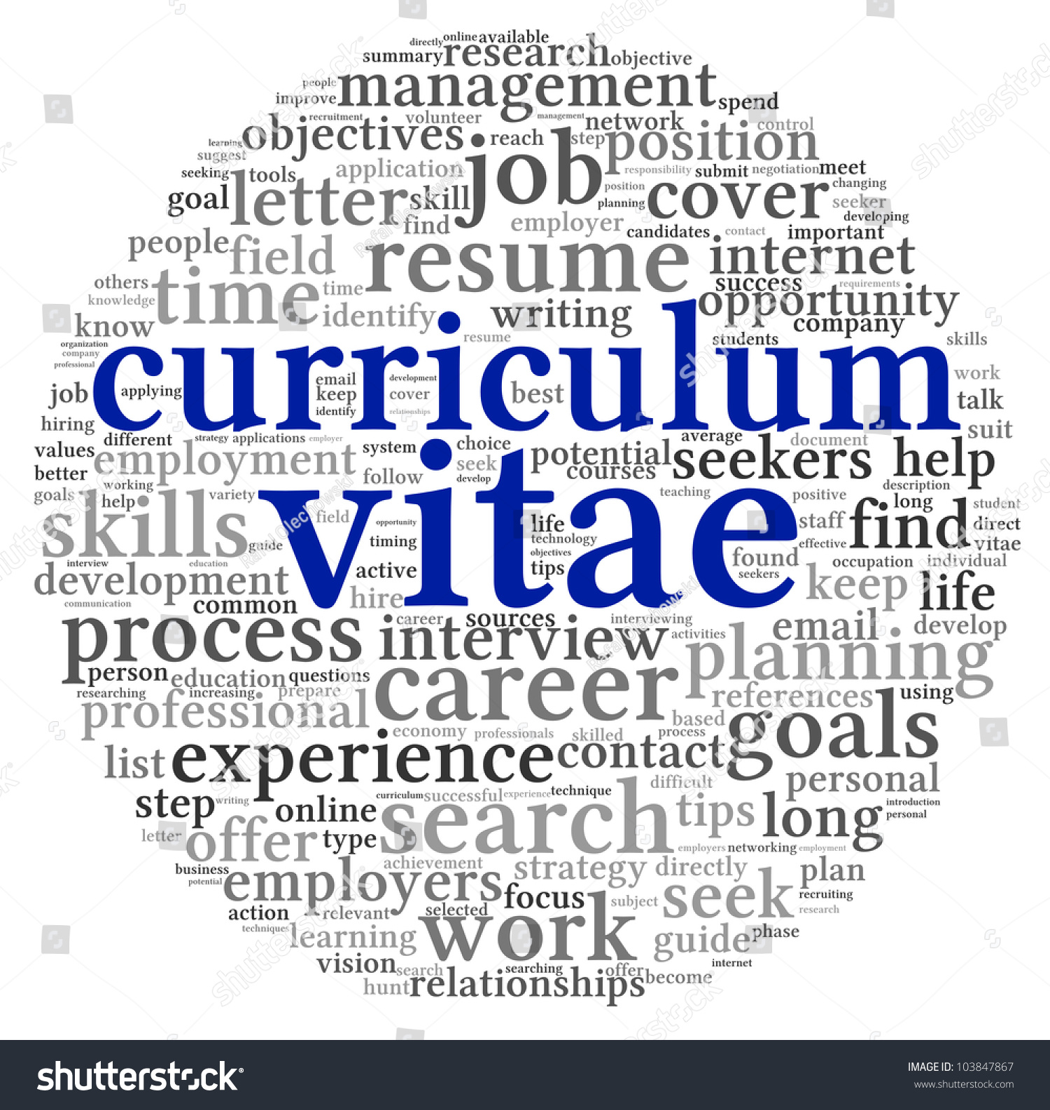 curriculum vitae cv concept word tag stock illustration