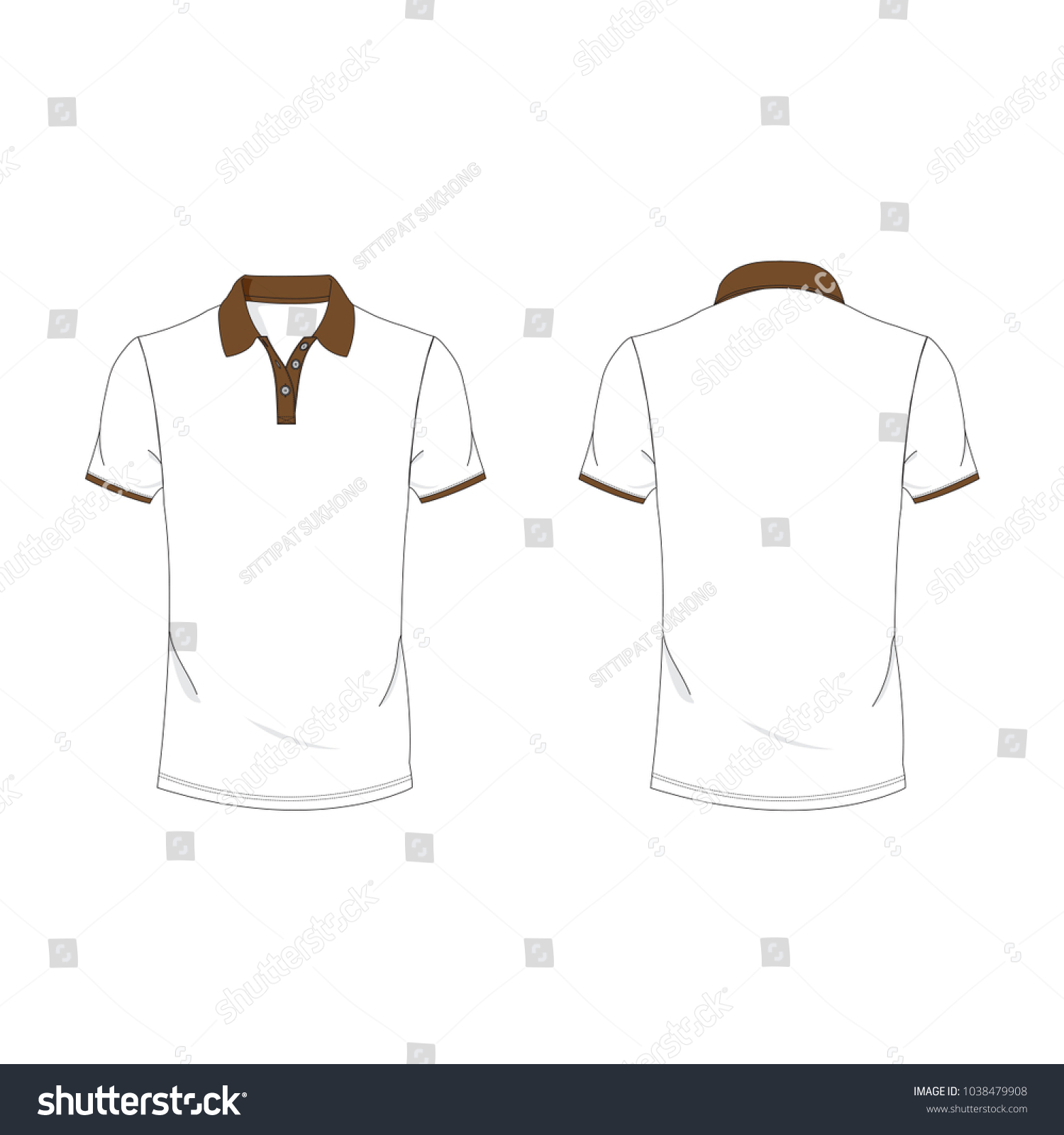 Dark Brown White Polo Tshirt Template Stock Vector (Royalty Free ...