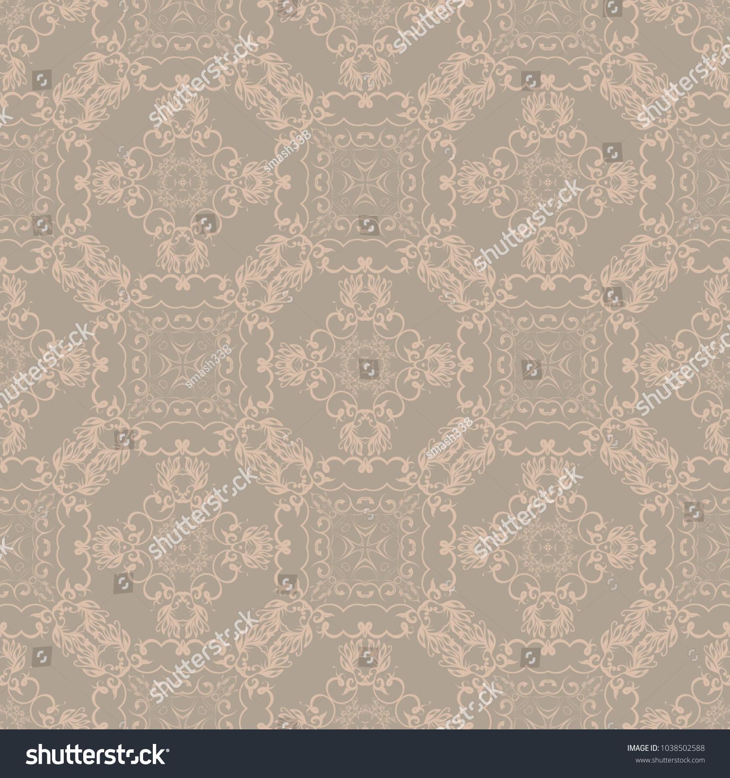 Seamless Beige Wallpaper Pattern Vintage Style 1038502588