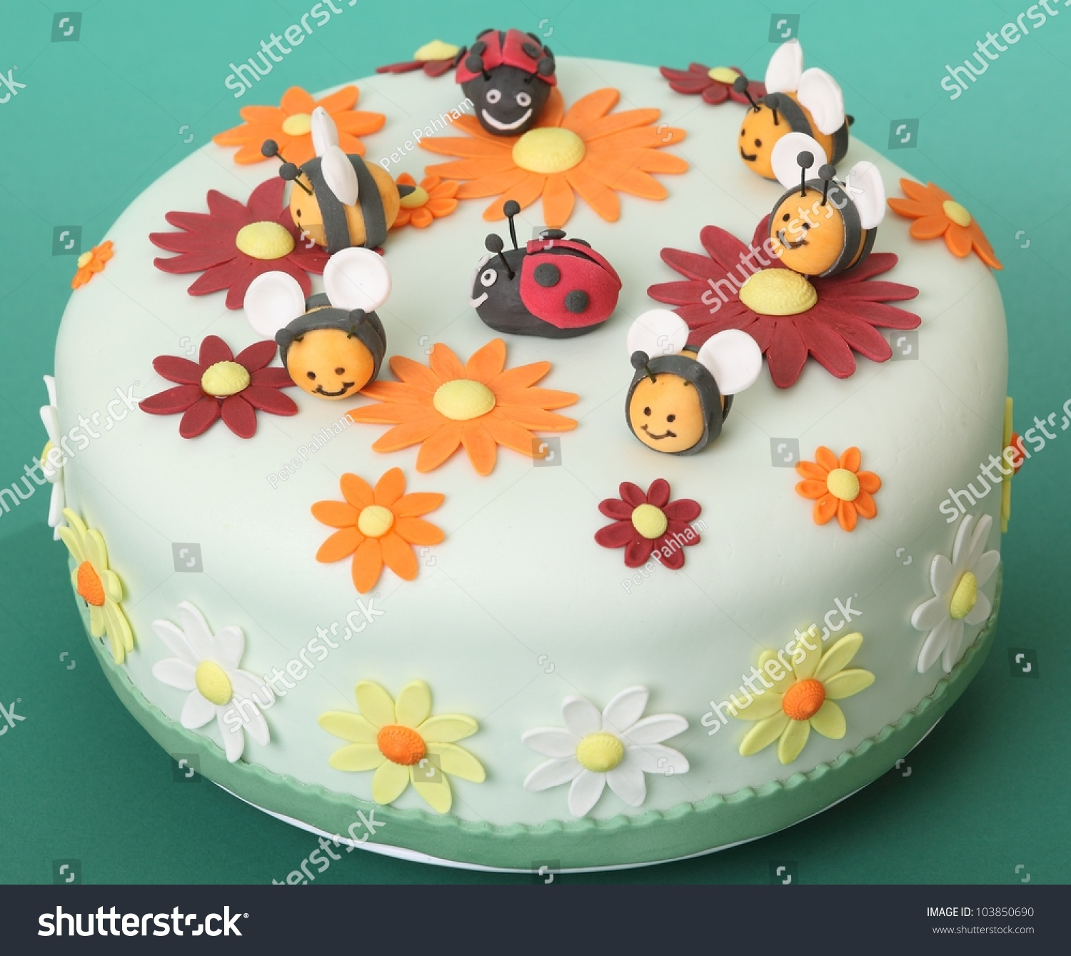 Birthday cake flowers sugar bees ladybugs stock photo edit now birthday cake with flowers sugar bees and ladybugs izmirmasajfo