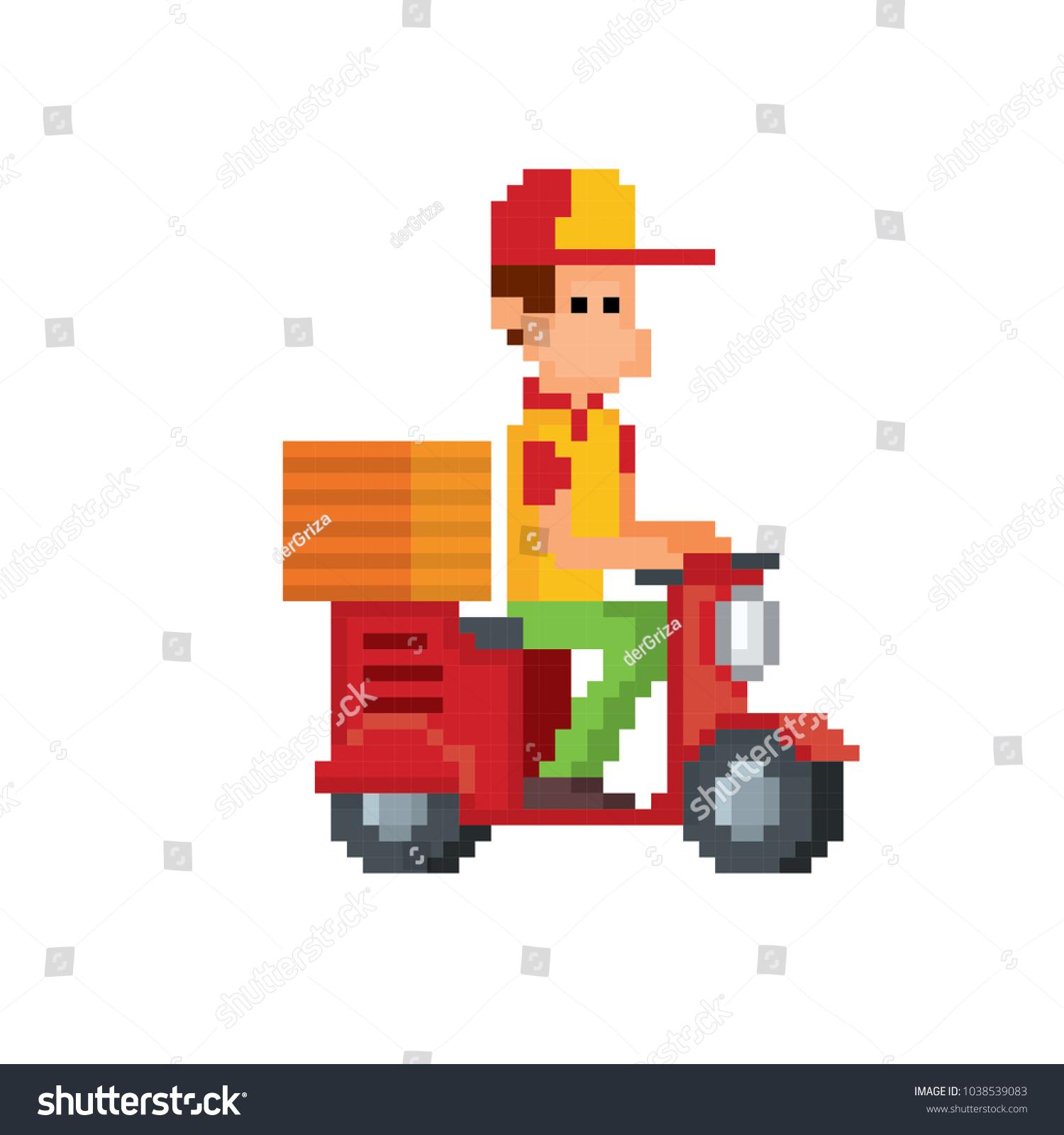 Image Vectorielle De Stock De Pizza Deliveryman On Scooter