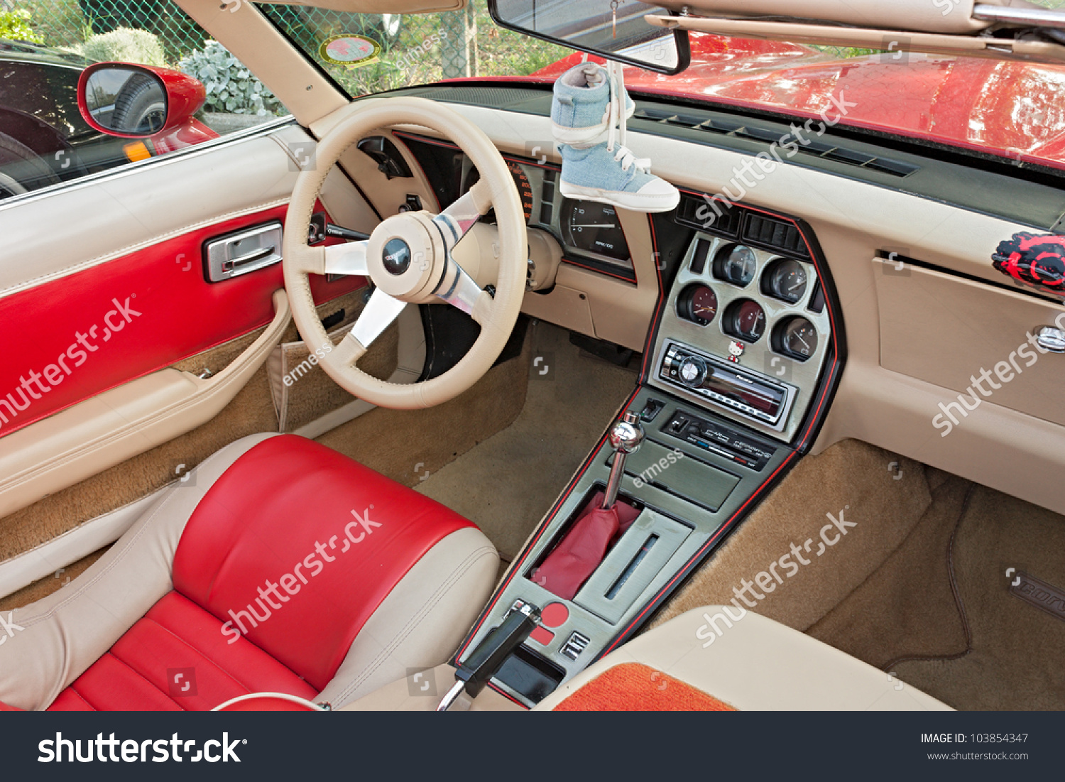 cervia ra italy may 12 a vintage car interior dashboard of chevrolet corvette exposed at. Black Bedroom Furniture Sets. Home Design Ideas