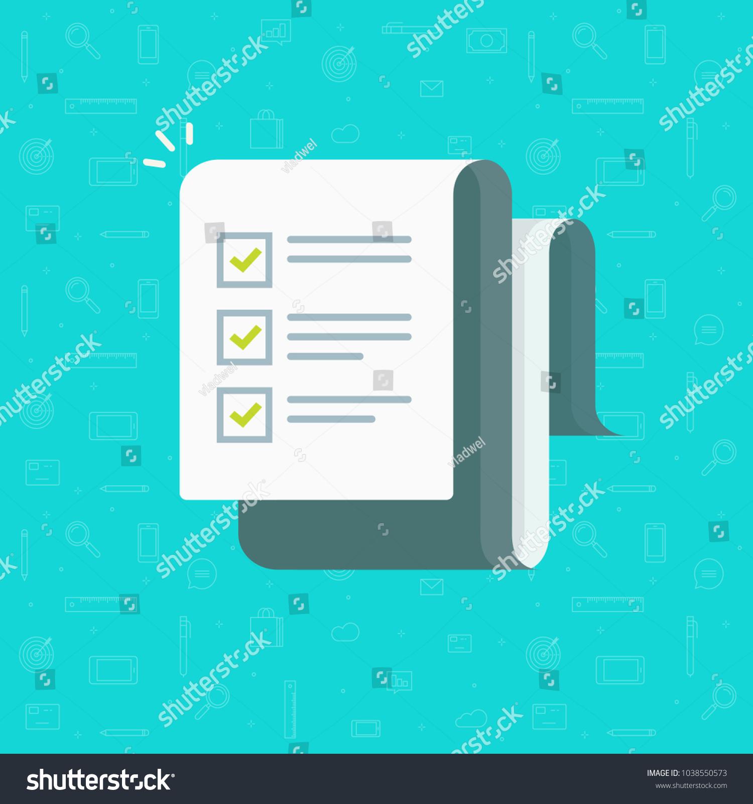 vetor stock de checklist vector illustration flat cartoon paper