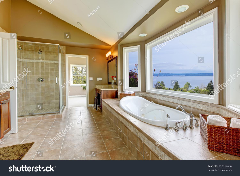 Large Bathroom Large Bath Tun Water View Luxury Stock Photo 103857686 Shutterstock