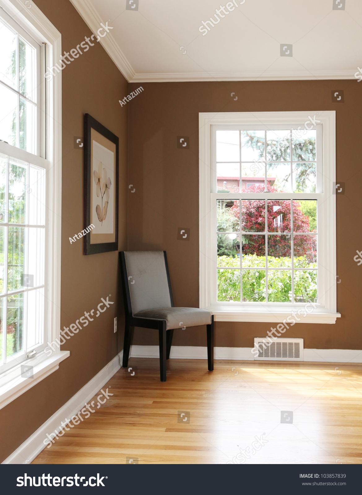 Living Room Corner Furniture Living Room Corner Chair Two Windows Stock Photo 103857839