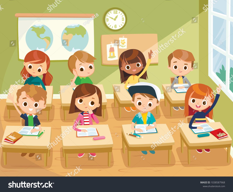 pupils study classroom school interior education stock vector