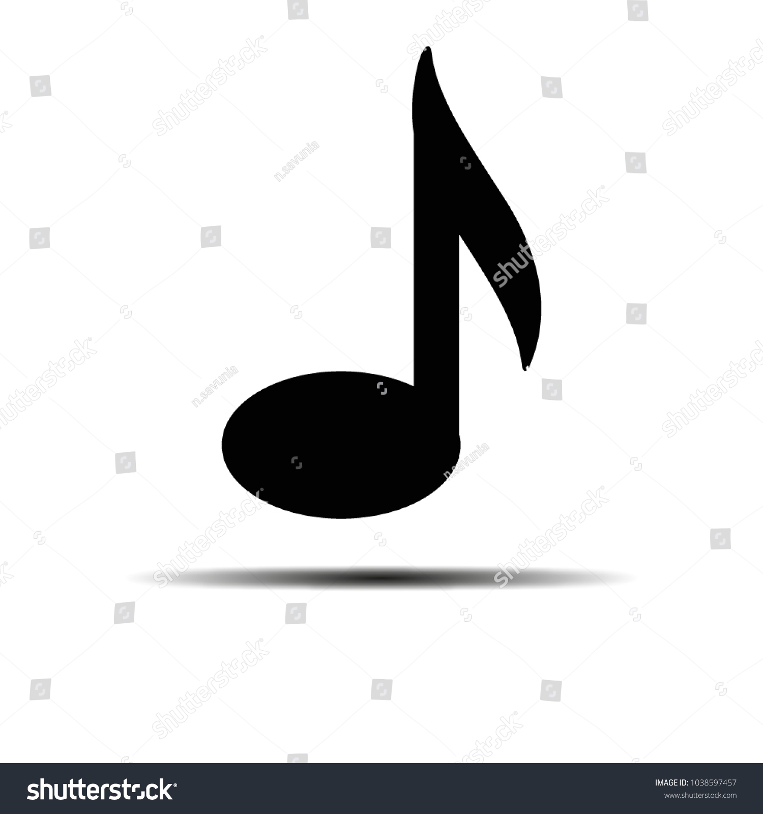 Quarter Note Vector Icon Music Black Stock Vector (Royalty