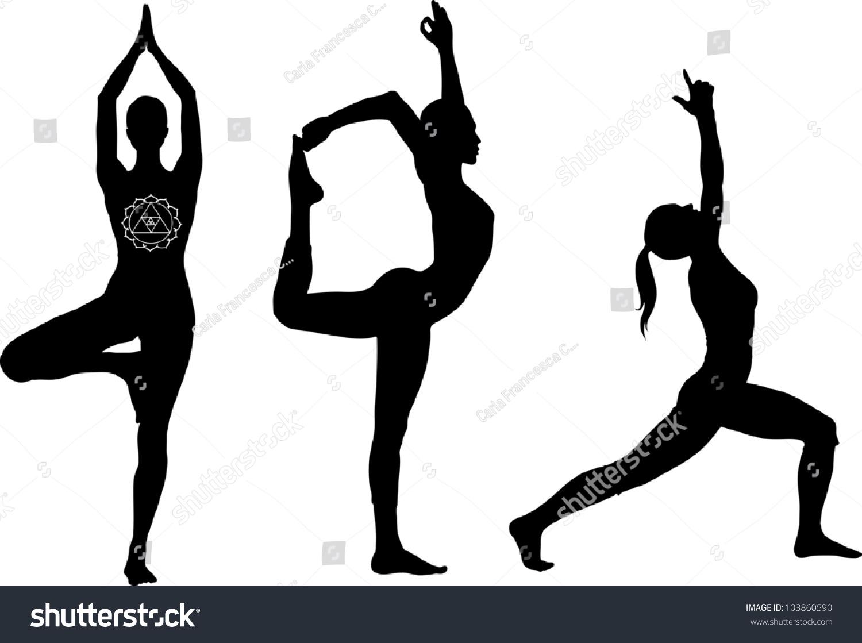 Yoga Poses Lord Dance Warrior Tree Stock Vector 103860590