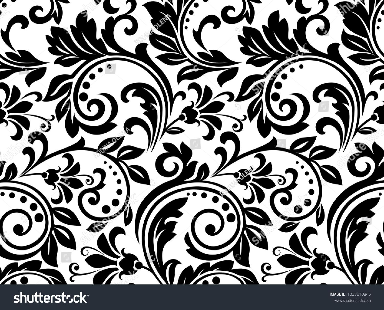 Floral Pattern Wallpaper Baroque Damask Seamless Stockillustration