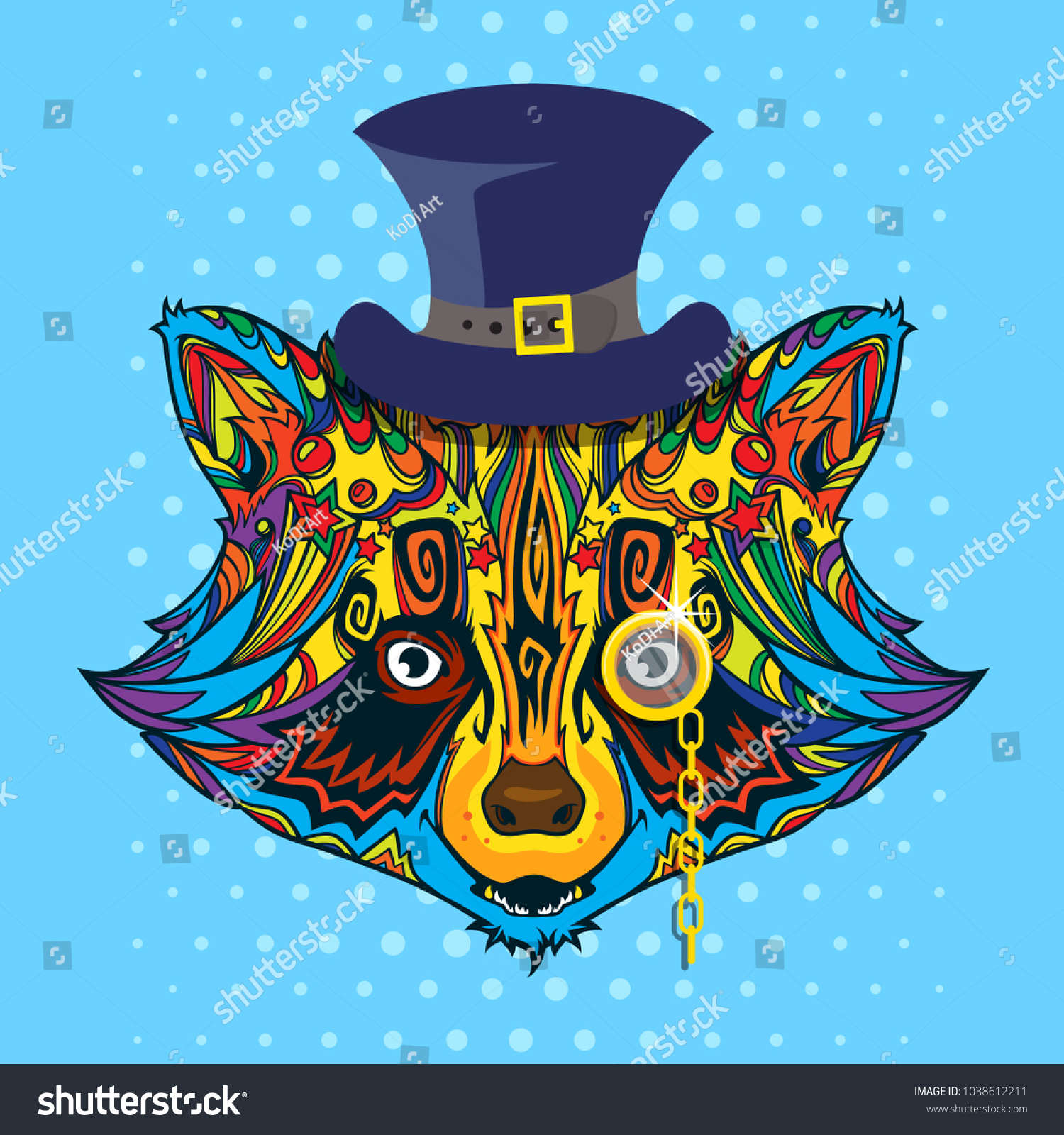 ornament face raccoon line art style stock vector hd royalty free