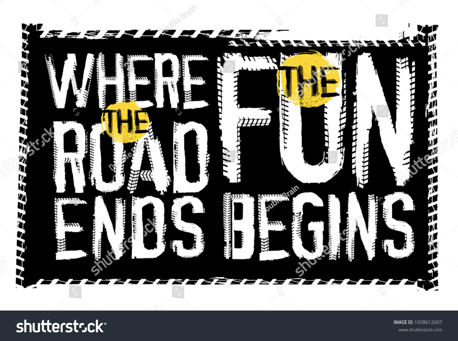 off road quote lettering grunge words stock vector royalty free
