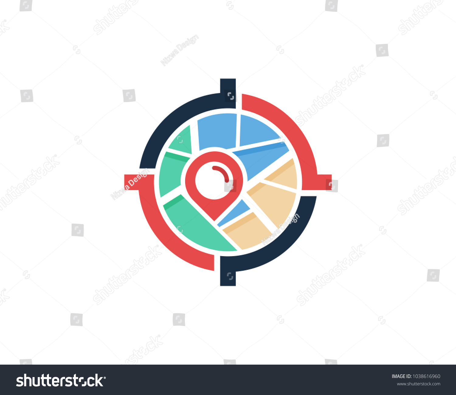 center target map icon logo design stock vector royalty free