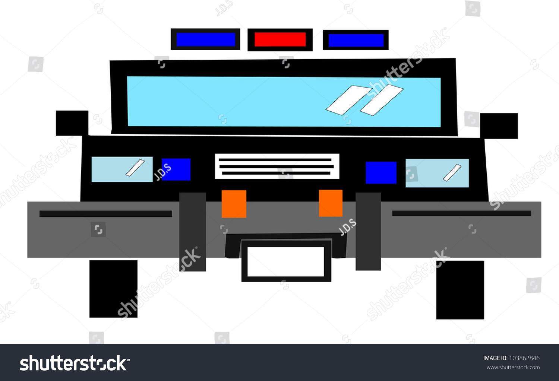 Raster Illustration Of Cartoon Police Car