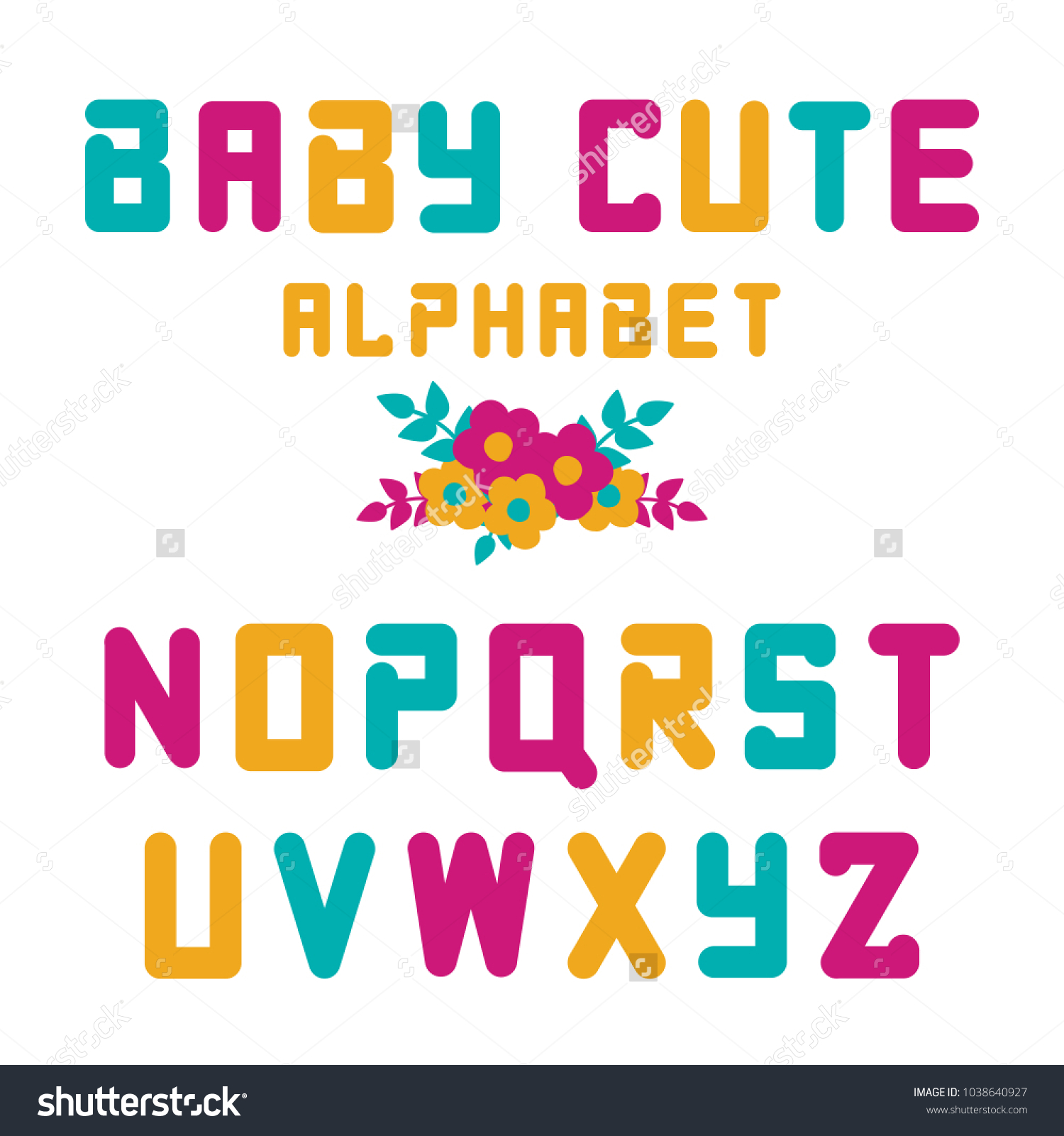cute colorful vector english alphabet kids stock vector (royalty