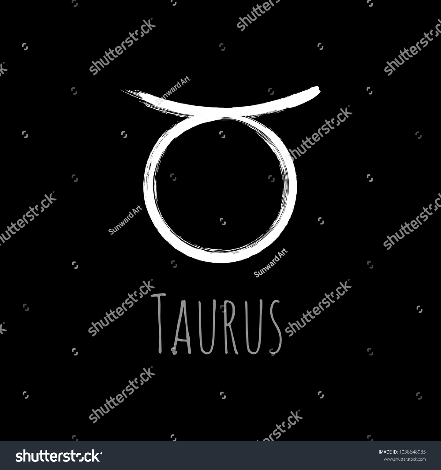 White Taurus Zodiac Sign Hand Painted Stock Vector Royalty Free