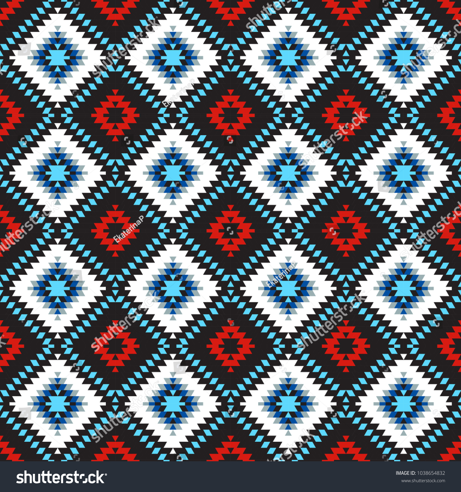 Seamless Pattern Turkish Carpet Blue White Red Black Colorful Patchwork Mosaic Oriental Kilim Rug With