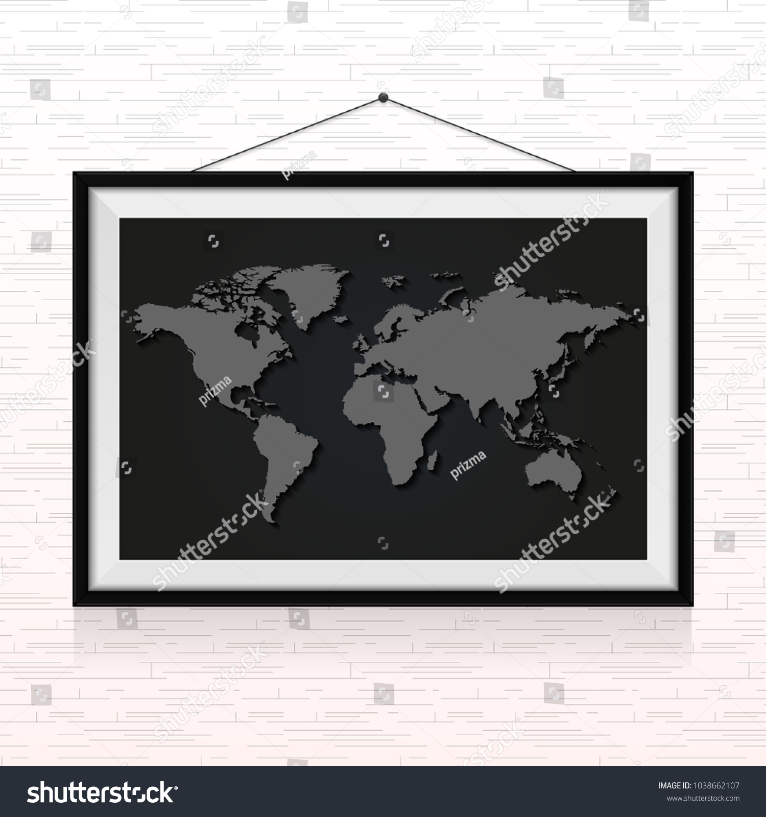 World map photo frame hanged on stock vector 1038662107 shutterstock world map in the photo frame hanged on the wall gumiabroncs Choice Image