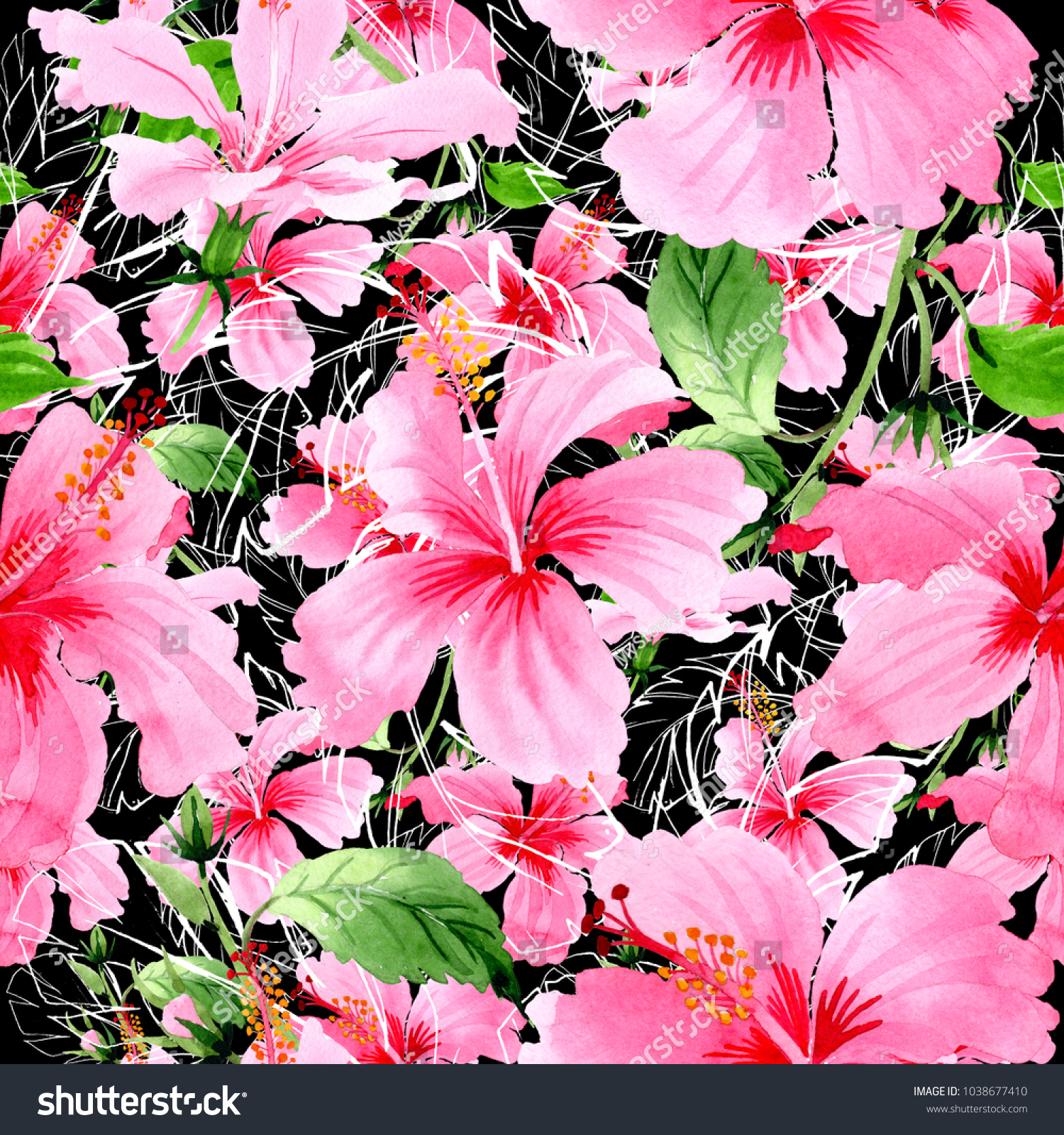 Wildflower hibiscus pink flower pattern watercolor stock wildflower hibiscus pink flower pattern in a watercolor style full name of the plant izmirmasajfo