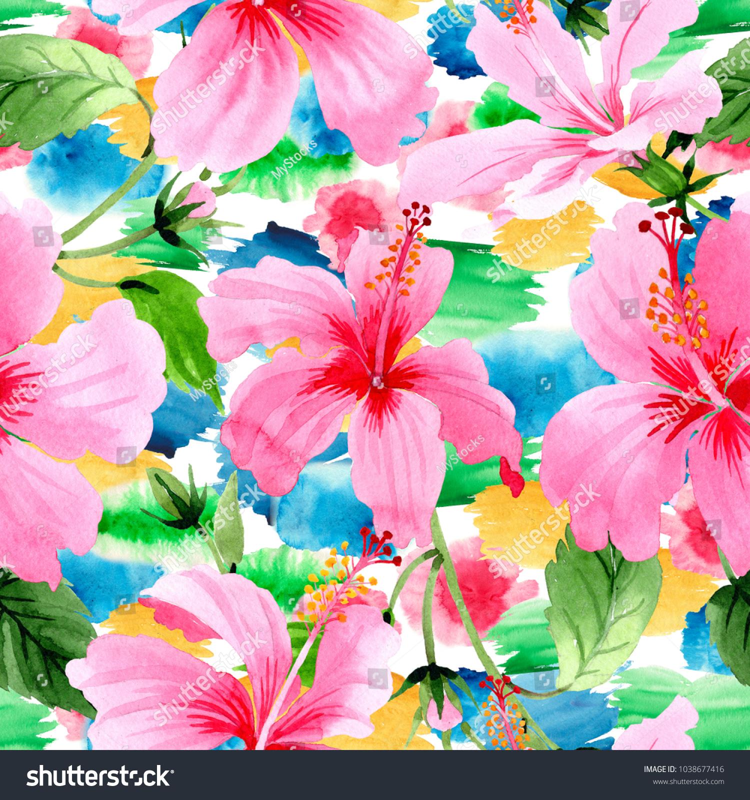 Wildflower Hibiscus Pink Flower Pattern Watercolor Stock