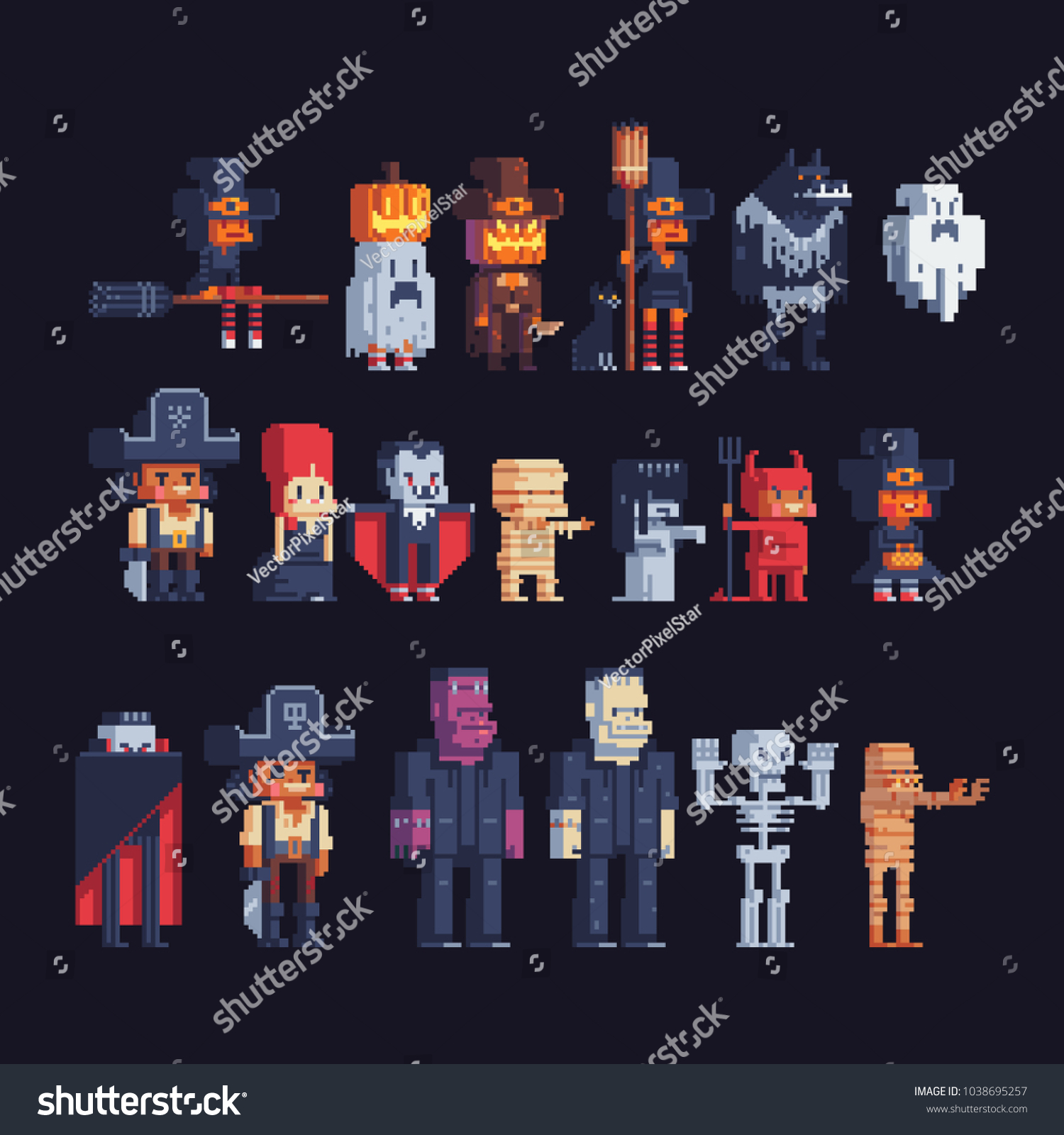 Happy Halloween Costume Party Pixel Art Stock Vector 1038695257